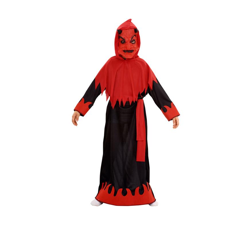 Disfraz de Demonio o Diablo Siniestro para niños de 10 a 12 años. Incluye máscara, capa con capucha, túnica y cinturón.