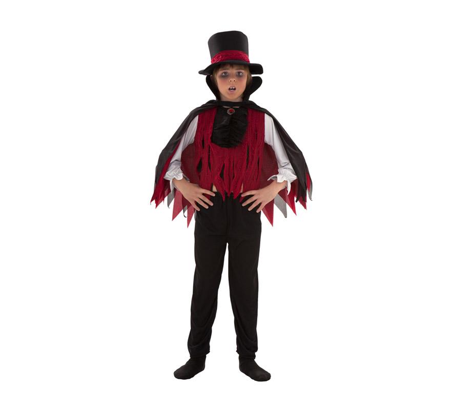 Disfraz de Vampiro para niños de 7 a 9 años. Incluye sombrero, capa, camisa y pantalón.
