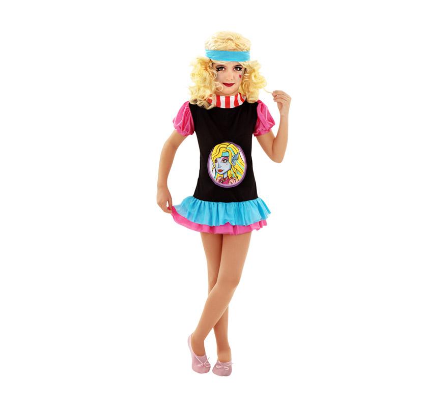 Disfraz de Blue Monster Gothic para niñas de 7 a 9 años. Incluye vestido y cinta.