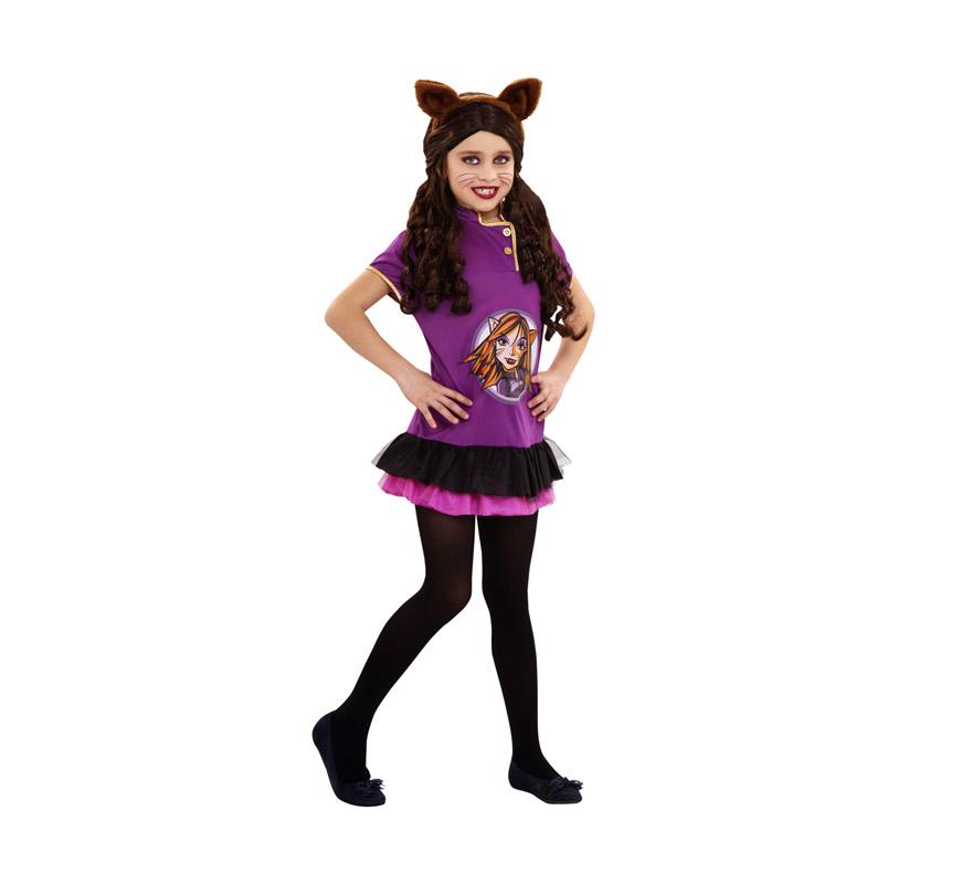 Disfraz de Gothic Monster Wolf para niñas de 5 a 6 años. Incluye vestido y diadema con orejas.