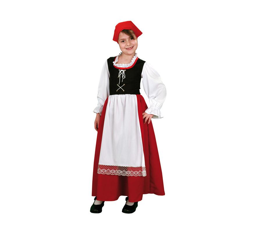 Disfraz de Pastora Aldeana para Bebé de 1 a 2 años Incluye vestido con camisa, chaleco, falda, delantal y pañuelo.