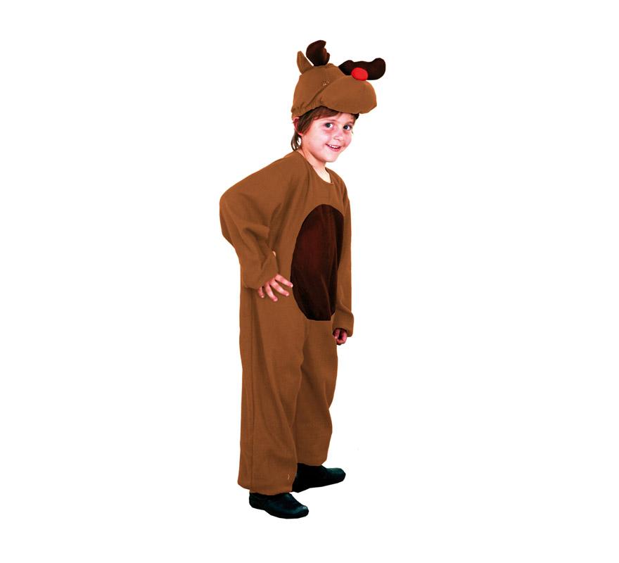 Disfraz de Reno infantil barato. Talla de 7 a 9 años. Incluye mono y capucha. Un disfraz muy apropiado para la Navidad y para teatros del cole.