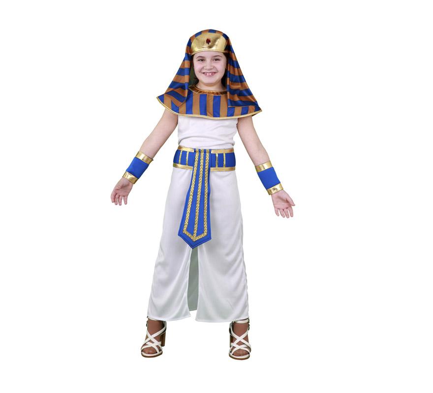Disfraz barato de Faraona Egipcia para niñas de 7 a 9 años. Incluye tocado, cuello, túnica, cinturón y muñequeras.