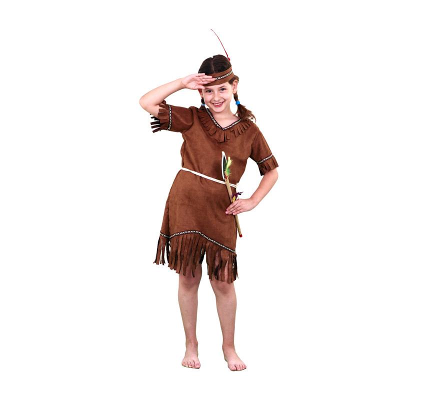 Disfraz de India barato de niña para Carnavales. Talla de 10 a 12 años. Incluye cinta de la cabeza, vestido y cinturón.