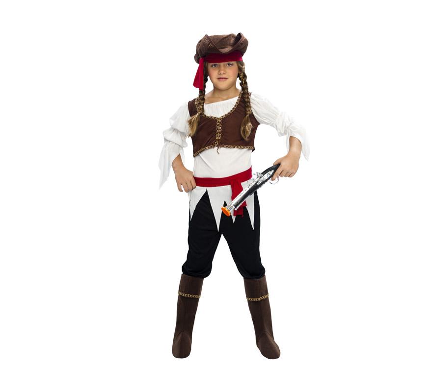 Disfraz barato de Pirata Niña para Carnaval. Talla de 5 a 6 años. Incluye camisa, chaleco, pantalón, cubrebotas, sombrero, cinturón y cinta para el cabello. Espada NO incluida, podrás verla en la sección de Complementos. divertido!!.