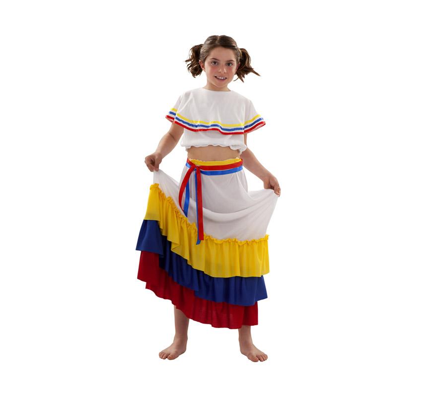 Disfraz de Sudamericana para niñas de 7 a 9 años. Incluye falda, blusa y dos cintas.