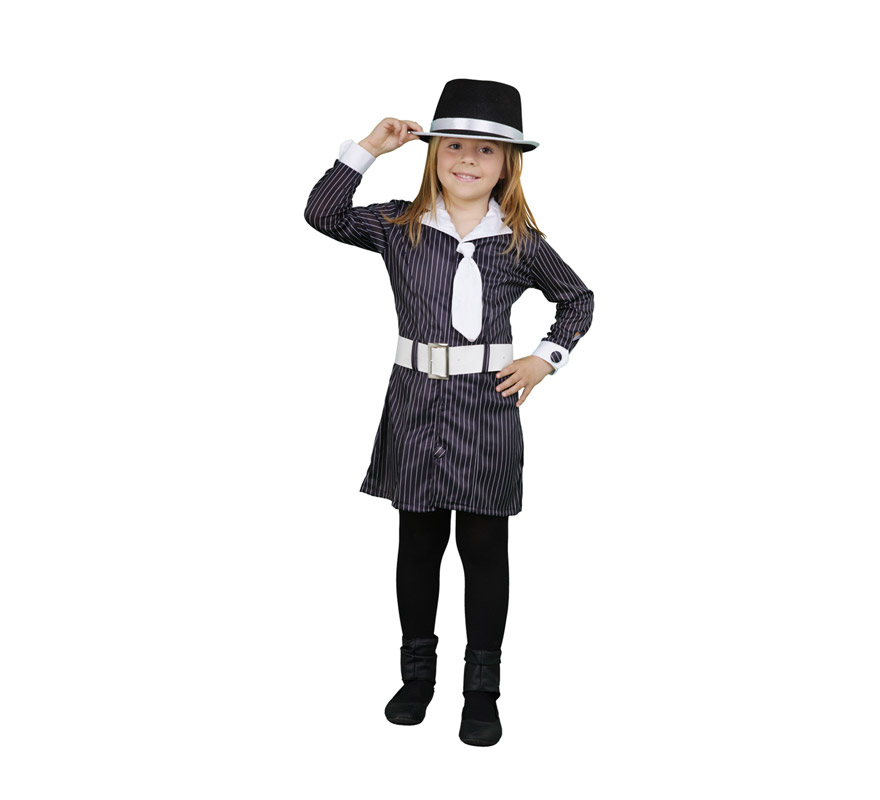 Disfraz barato de Gánster para niñas de 5 a 6 años. Incluye vestido con corbata y cinturón. Sombrero o gorro NO incluido, podrás verlo en la sección de complementos.