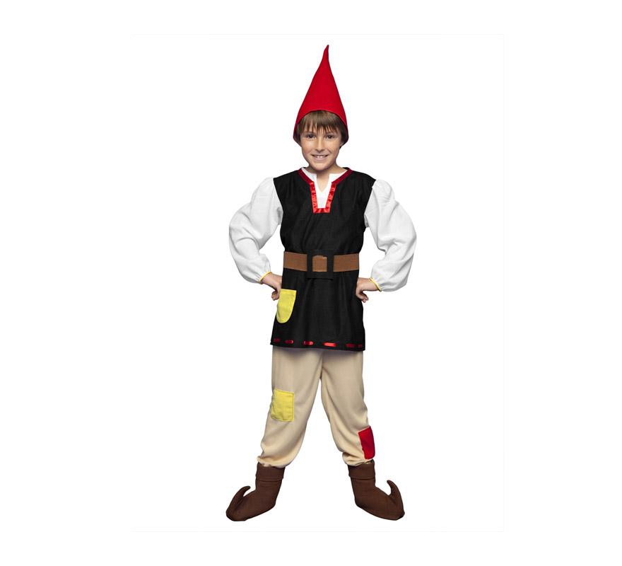 Disfraz de Gnomo para niños de 3 a 4 años. Incluye camisa, pantalón, gorro, cinturón y cubrebotas. También sirve como disfraz de Enanito, Duende o Elfo para niños y es perfecto para acompañar a Papa Noel en Navidad.