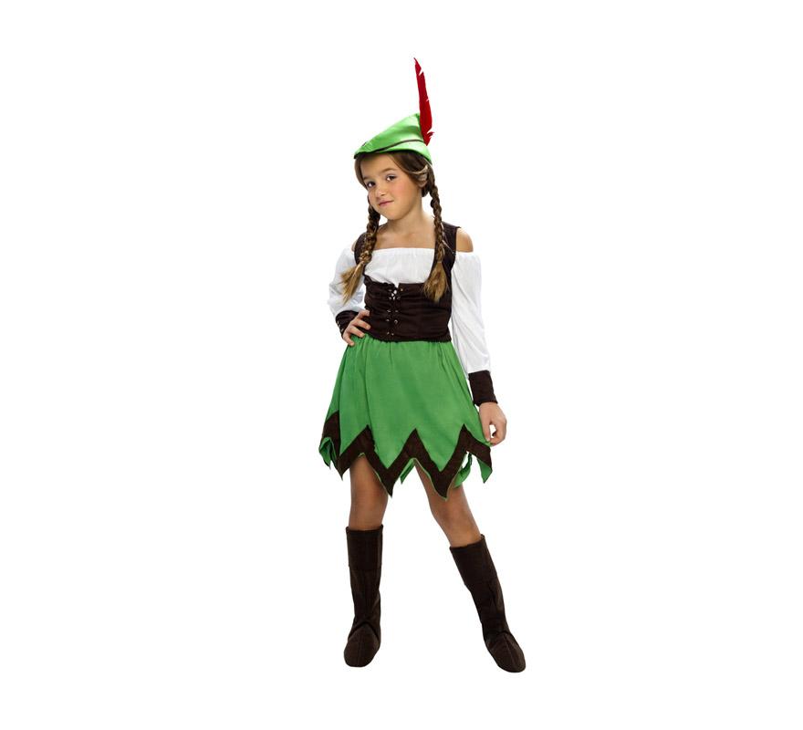 Disfraz de Robin Hood Niña Económico talla de 10 a 12 años. Incluye sombrero, camisa, chaleco, falda y cubrebotas. Espada NO incluida, podrás verla en la sección de Complementos.