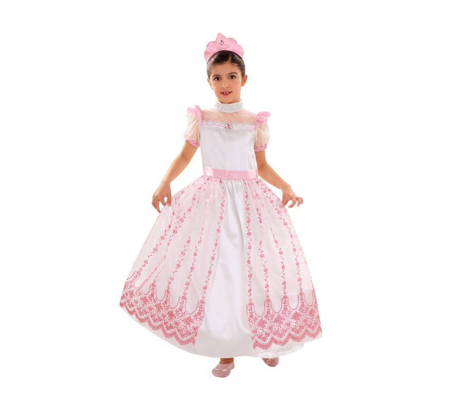 Disfraz de Princesa Rosa para niñas de 7 a 9 años. Incluye vestido y diadema. Perfecto para regalar.