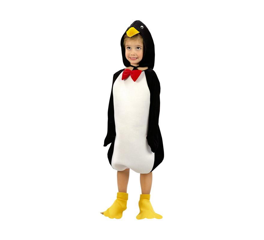 Disfraz de Pingüino para niños de 5 a 6 años. Incluye disfraz, cubrepies y gorro.