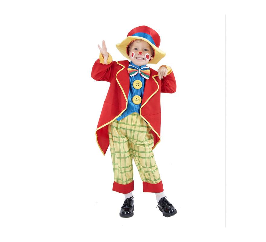 Disfraz barato de Payasete para niño. Talla de 1 a 2 años. Incluye abrigo, pechera con pajarita y botones, pantalones y sombrero. Éste disfraz de Payasito infantil está muy completo y tiene muy buen precio.