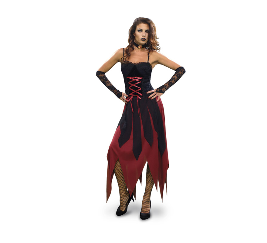Disfraz de Vampiresa Gótica adulta para Halloween. Talla Standar M-L 38/42. Disfraz de Vampira Gótica barato para Halloween que incluye vestido, gargantilla y guantes.