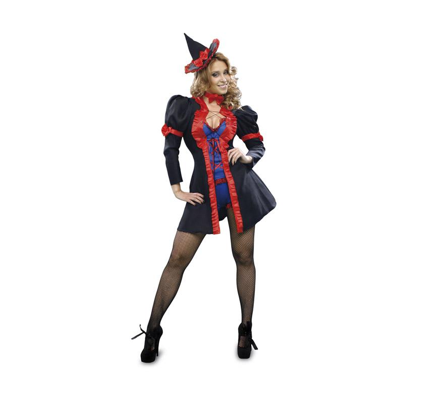 Disfraz de Bruja Seductora para mujer. Talla standar = 38/42. Incluye abrigo, pantalón corto, camiseta, gargantilla y sombrero.