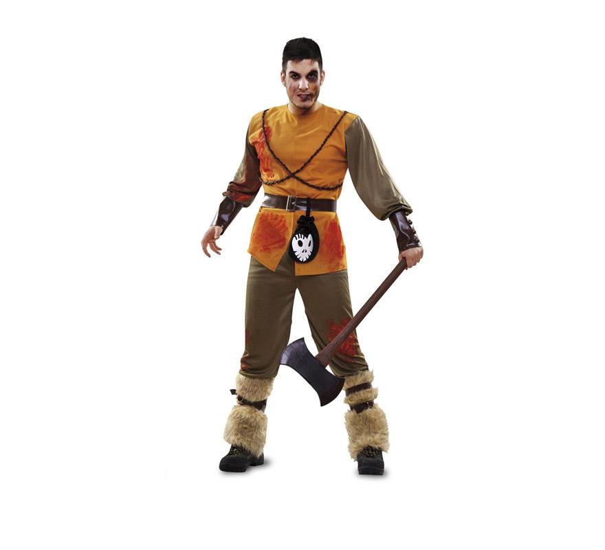Disfraz de Cazador de Cuento Zombie para hombre. Talla M-L 52/54. Incluye cinturón, camisa, pantalón, calentadores y 2 cinturones para las piernas. Hacha NO incluida, podrás verla en al sección de Accesorios con la ref: 07652AT.