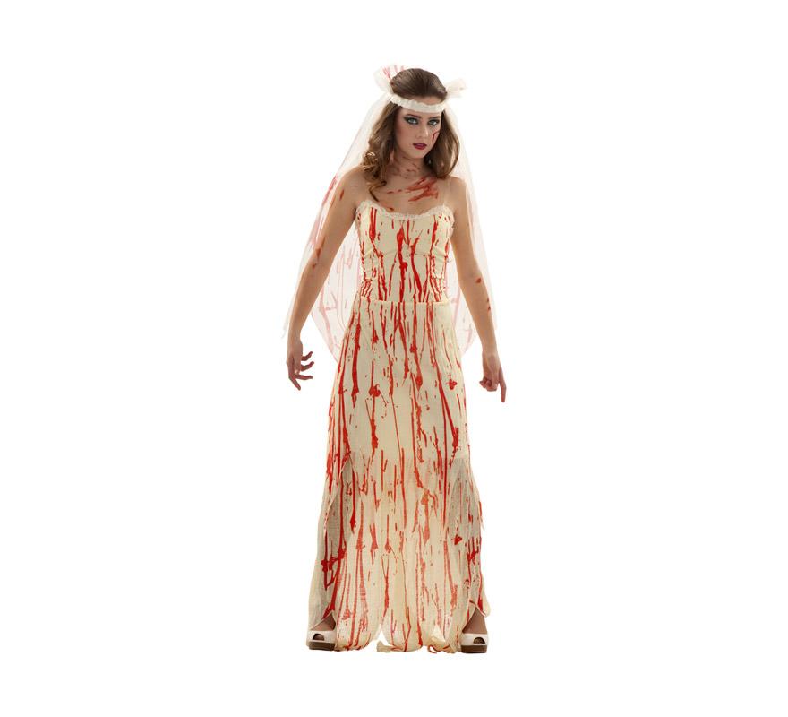 Disfraz de Novia Cadaver manchada de sangre para mujer. Talla S 34/38 para chicas delgadas y adolescentes. Incluye vestido y tocado.