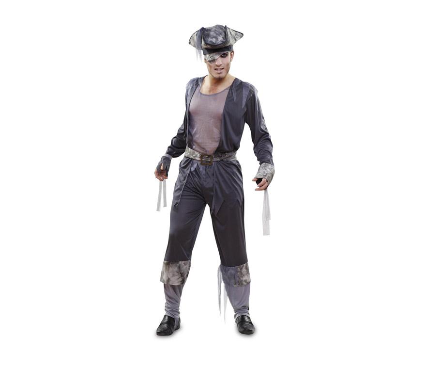 Disfraz de Fantasma Pirata para hombre. Talla M-L = 52/54. Incluye camisa, sombrero, pantalón, cinturón y 2 cintas para los brazos.