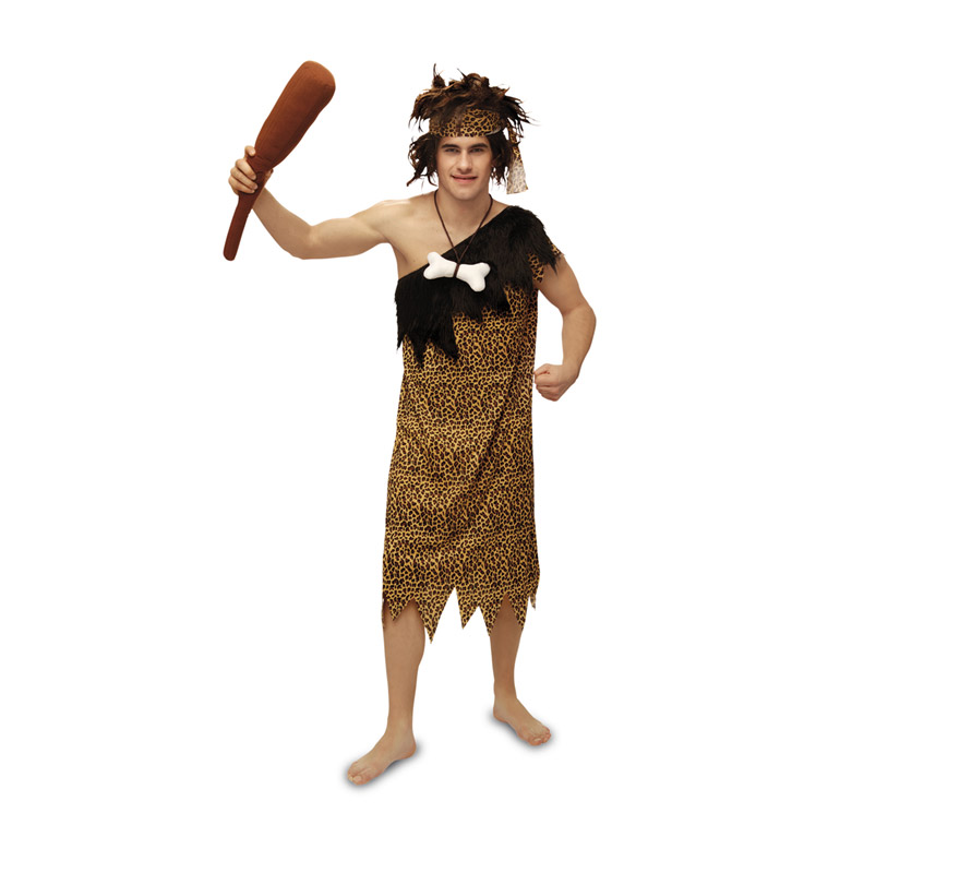 Disfraz de Troglodita o Cavernícola para hombre. Talla M-L = 52/54. Incluye vestido, cinta de la cabeza y porra.