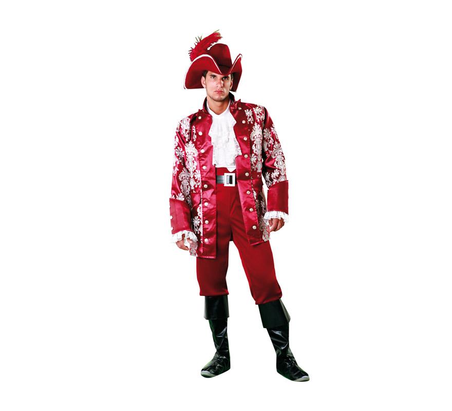 Disfraz de Lord Pirata Granate para hombre. Talla XL = 54/58. Incluye sombrero, pecherín, chaqueta, cinturón, pantalón y cubrebotas.