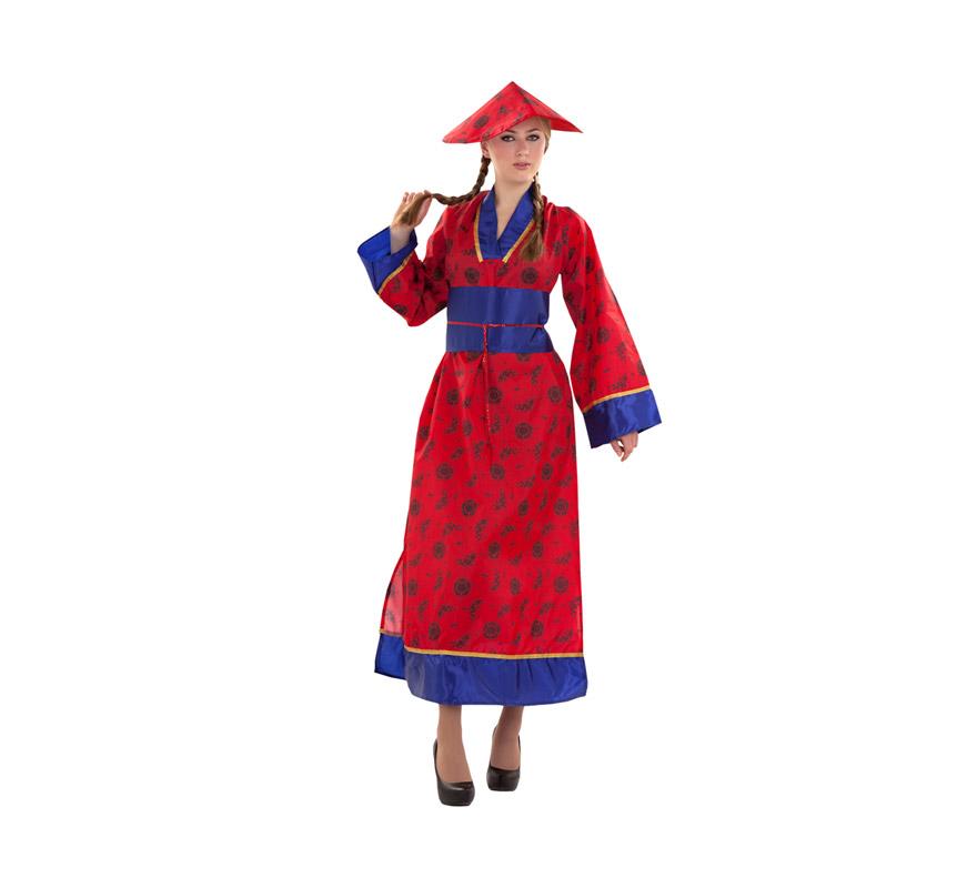 Disfraz barato de China para mujer. Talla S = 34/38 para chicas delgadas y para adolescentes. Incluye sombrero, vestido y cinturón.