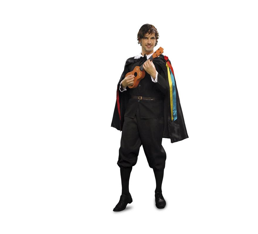 Disfraz barato de Tuno para hombre. Talla Standar M-L 52/54. Incluye pantalón, chaqueta, capa y cinturón. Éste traje siempre triunfa con las chicas, o en Carnaval o en Despedidas de Soltero o en cualquier Fiesta de disfraces, está comprobado. Éste disfraz también está en talla S con la ref. 05194BT y en talla XL 54/58 con la ref. 05262BT.