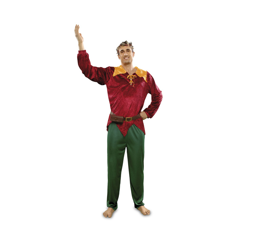 Disfraz Duende del Bosque para hombre. Talla standar M-L = 52/54. Incluye chaqueta, pantalón, cinturón con bolso y tocado.