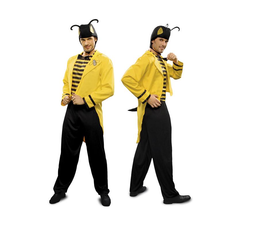 Disfraz de Lord Avispa para hombre. Talla standar M-L = 52/54. Incluye chaqueta, pantalón, gorro y pechera. También podría servir como disfraz de Abeja o abejorro para hombre.