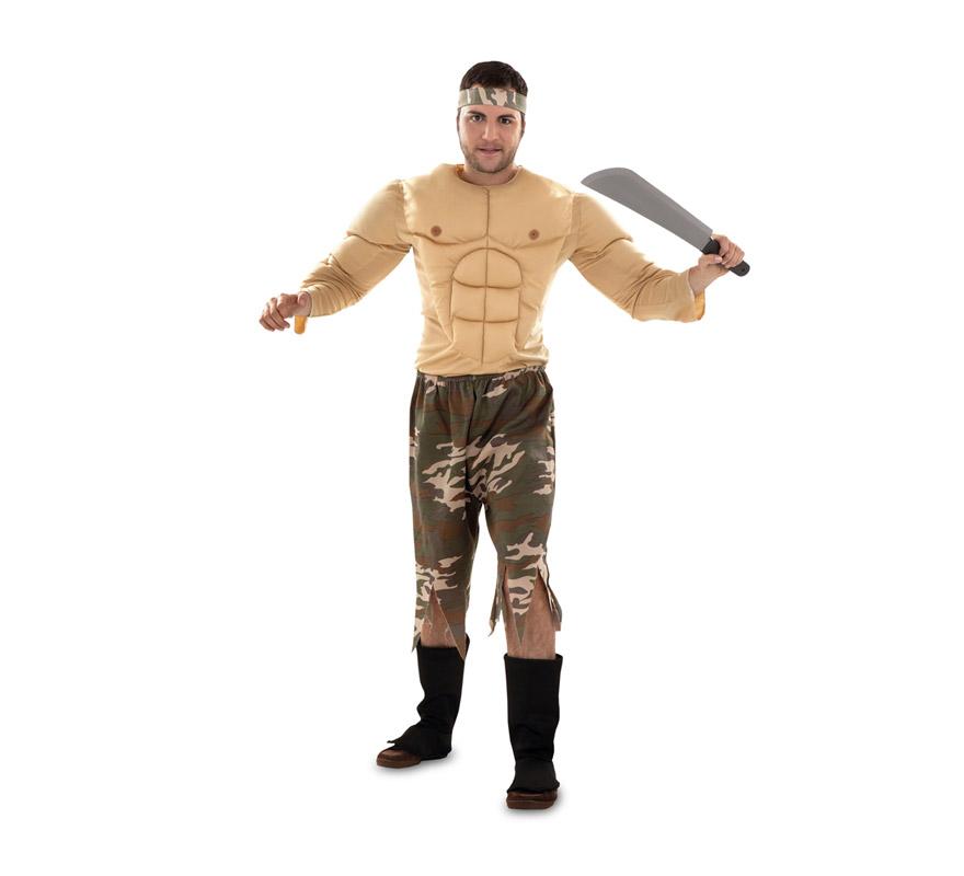 Disfraz de Soldado Rambo talla M-L para hombre. Talla standar 52/54. Incluye camiseta musculosa, pantalones y cinta para el pelo. Metralleta NO incluida, tenemos algunas referencias en la sección de Complementos - Armas.