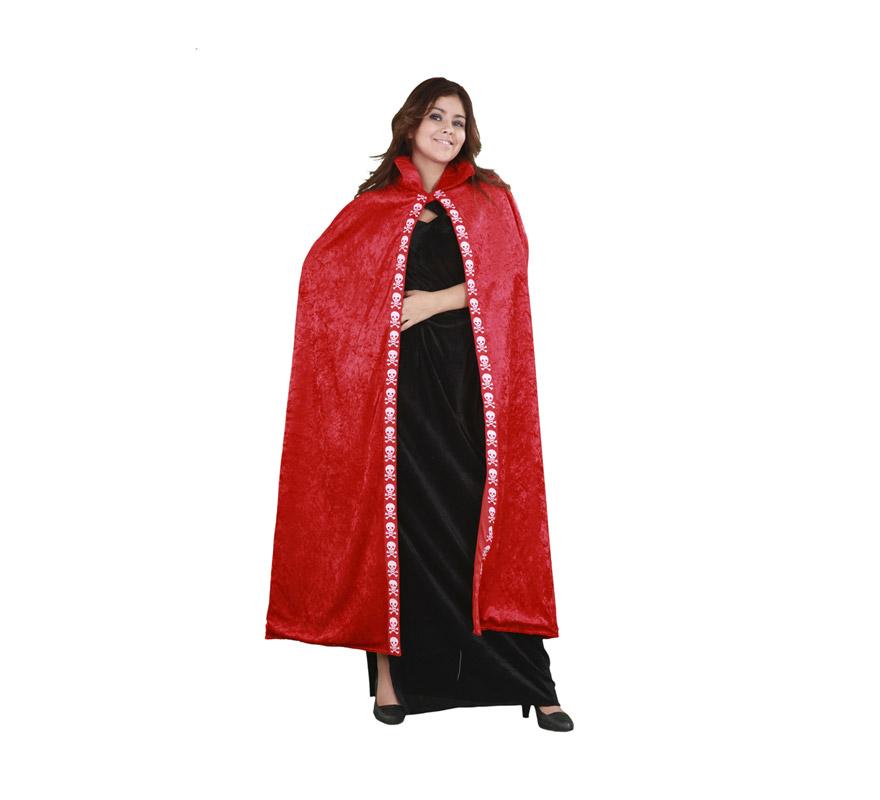 Capa de terciopelo roja adultos para Halloween. Talla única de adultos. Incluye la capa.