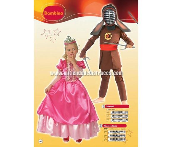 Disfraz de Princesa rosa. Talla de 7 a 9 años. Incluye vestido, corona y zapatos. Ideal para regalar en Navidad y Reyes.
