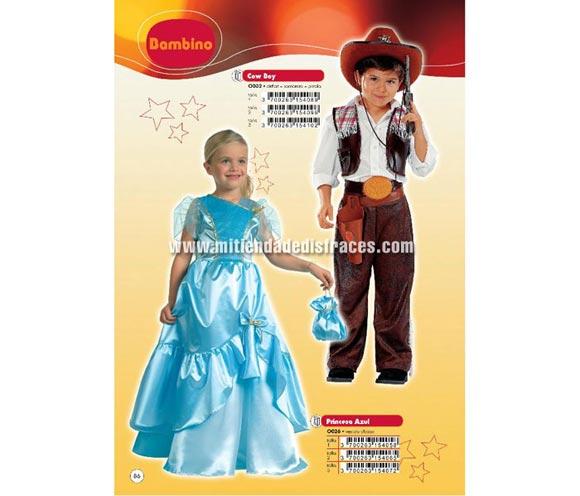 Disfraz de Princesa azul Infantil. Talla de 3 a 5 años.  Incluye vestido y bolso.
