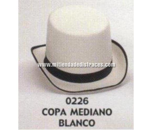 Sombrero de Copa mediano blanco. Buena calidad, fabricado artesanalmente en España. Posibilidad de ajuste de precio para grupos. Chistera mediana blanca.