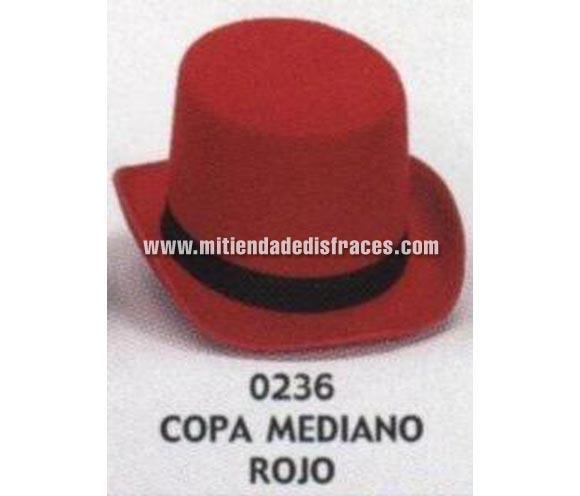 Sombrero de Copa mediano rojo. Buena calidad, fabricado artesanalmente en España. Posibilidad de ajuste de precio para grupos. Chistera mediana roja.