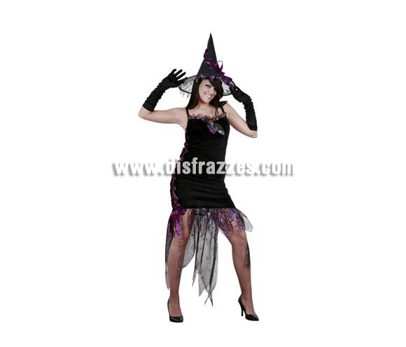 Disfraz de Bruja de Noche adulta para Halloween barato. Talla Standar M-L = 38/42. Incluye sombrero, guantes y vestido.