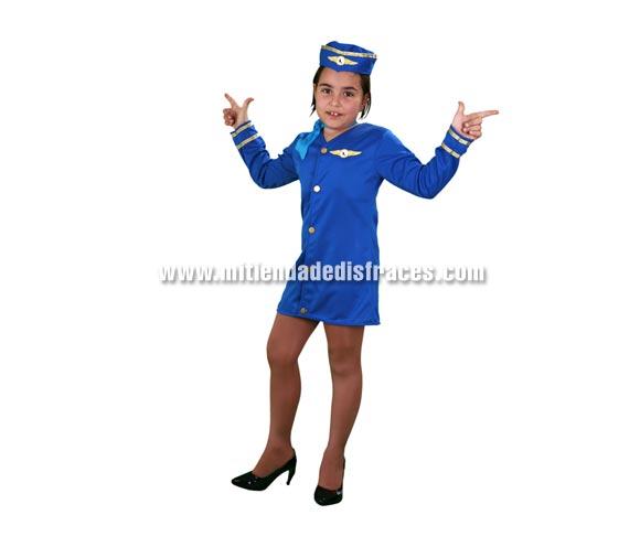 Disfraz de Azafata de vuelo infantil. Talla de 5 a 6 años. Incluye vestido, pañuelo y gorro.