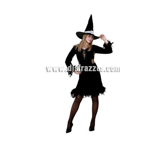 Disfraz de Bruja con boa negra adulta para Halloween barato. Talla Standar M-L =  38/42. Incluye sombrero y vestido.