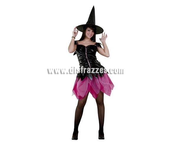Disfraz de Bruja negro y rosa adulta para Halloween barato. Talla Standar M-L =  38/42. Incluye sombrero y vestido.