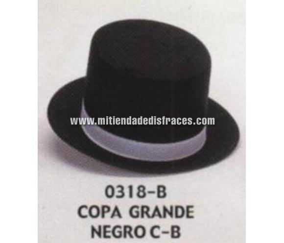 Sombrero de Copa grande negro con cinta negra. Buena calidad, fabricado artesanalmente en España. Posibilidad de ajuste de precio para grupos. Chistera grande negra con cinta de color negra.