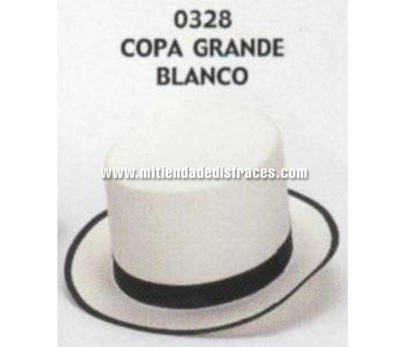 Sombrero de Copa grande blanco. Buena calidad, fabricado artesanalmente en España. Posibilidad de ajuste de precio para grupos. Chistera grande blanca.
