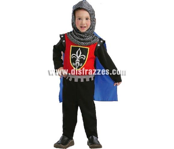 Disfraz de Cruzado infantil para Carnaval. Talla de 3 a 4 años. Incluye mono y capa con capucha. Disfraz de niño Medieval.