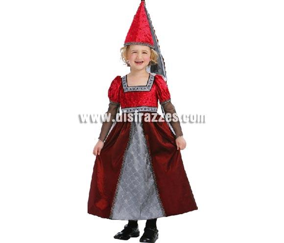 Disfraz de Princesa Medieval infantil para Carnaval. Talla de 2 a 4 años. Incluye vestido y gorro con velo.