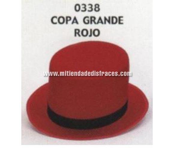 Sombrero de Copa grande rojo. Buena calidad, fabricado artesanalmente en España. Posibilidad de ajuste de precio para grupos. Chistera grande roja.