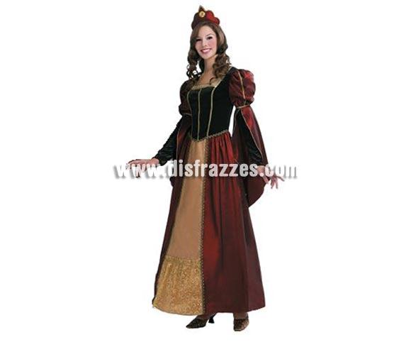 Disfraz de Reina Barroca de lujo para mujer. Talla standar M-L = 38/42. Incluye vestido y corona. Disfraz de Reina o Dama Medieval de mujer para Ferias Medievales.