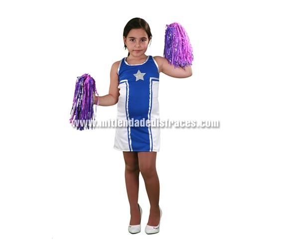 Disfraz de Animadora Estrella infantil. Talla  de 10 a 12 años. Incluye vestido. Pompones NO incluidos, podrás verlos en la sección de Complementos. Disfraz de Cheerleader para niñas, para jugar a ser protagonistas de High School Musical.