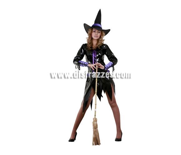 Disfraz de Bruja Morada Sexy con mitones adulta para Halloween. Disfraz de Halloween barato. Talla estándar M-L = 38/42. Incluye sombrero, vestido y mitones. Escoba NO incluida, podrás verla en la sección Complementos.