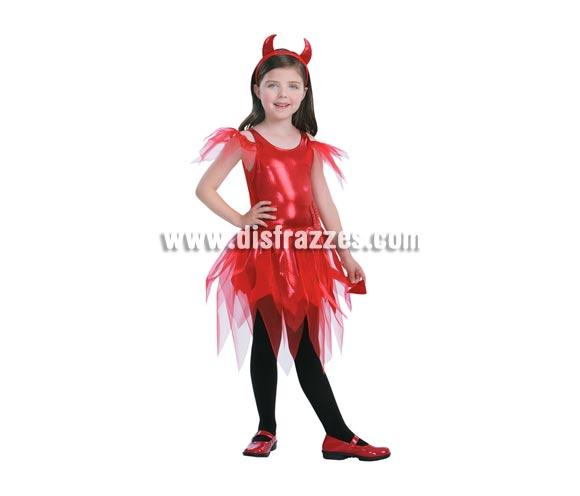 Disfraz de Diablesa roja vestido corto infantil para Halloween. Disfraz barato talla de 7 a 9 años. Incluye vestido con rabo y diadema con cuernos.