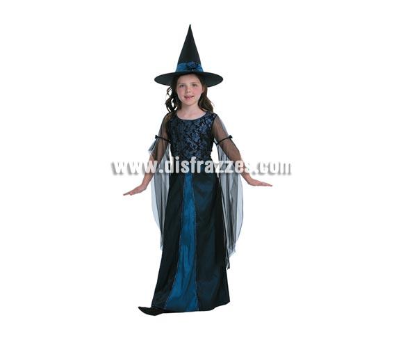 Disfraz de Bruja Carmesí infantil para Halloween. Talla de 5 A 6 años.Incluye vestido y sombrero de Bruja. Buena calidad.