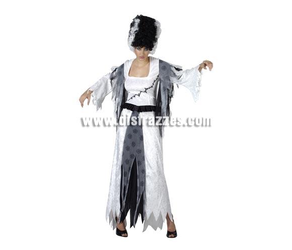 Disfraz de la Novia de Frankenstein mujer para Halloween. Talla Standar M-L 38/42. Disfraz de Halloween de telas y acabados de buena calidad que incluye el vestido. Peluca NO incluida, podrás verla en la sección Pelucas.