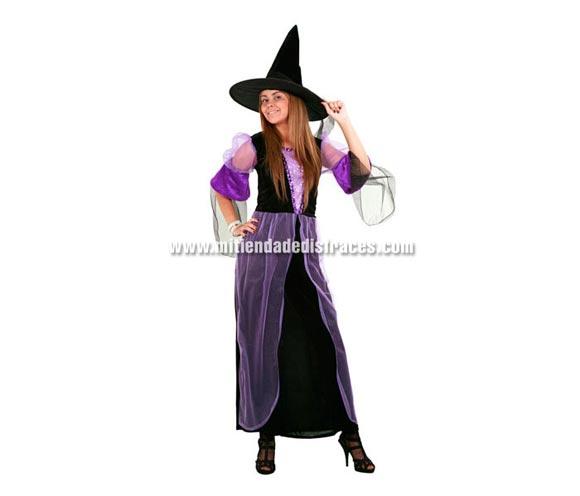 Disfraz de Bruja Morada Adulta Económico. Talla única 40/44. Incluye sombrero y vestido.
