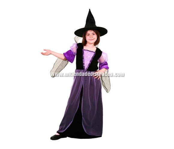 Disfraz de Bruja Morada Económico talla de 7 a 9 años. Incluye sombrero y vestido.